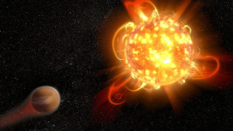 Artist's conception of a superflare on an alien star.