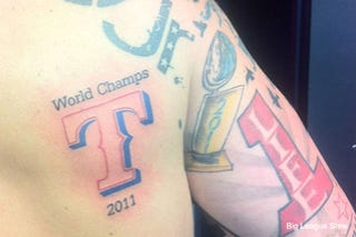 Illustration for article titled Yeah, That's A Rangers 2011 World Champs Tattoo