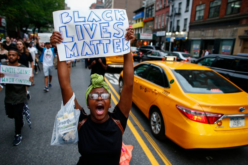 People take part in a protest  July 8, 2016, in New York City. Police presence was increased around New York City after five police officers were killed in a shooting in Dallas.Kena Betancur/Getty Images