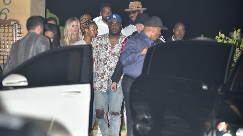 Khloe Kardashian, Tristan Thompson, LeBron James, and Savannah Brinson at Nobu on July 9 in Los Angeles