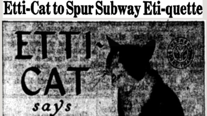 Illustration for article titled The Star of the MTA's 1962 Campaign for Subway Manners: A Damn Cat