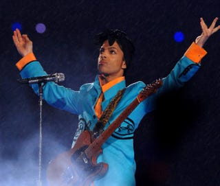 Prince performs at halftime during Super Bowl XLI between the Indianapolis Colts and Chicago Bears at Dolphins Stadium in Miami on Feb. 4, 2007.Theo Wargo/Getty Images