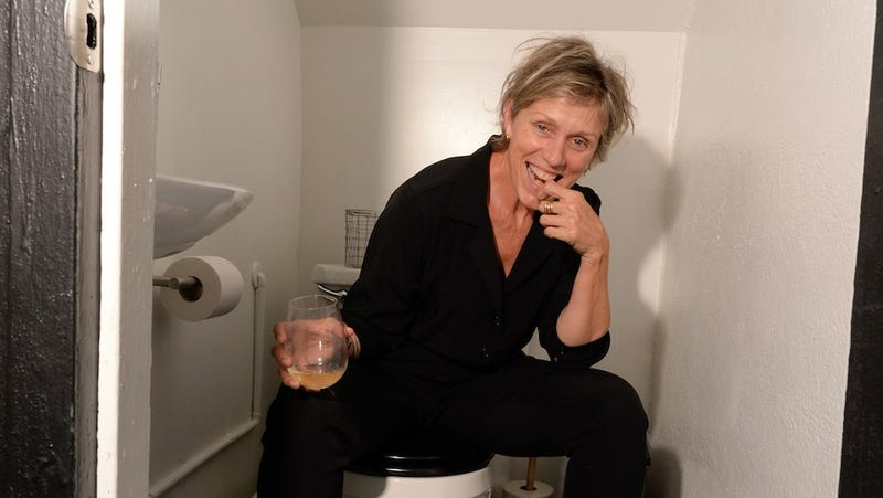 Illustration for article titled Today We Are All Frances McDormand Drinking Wine on a Toilet
