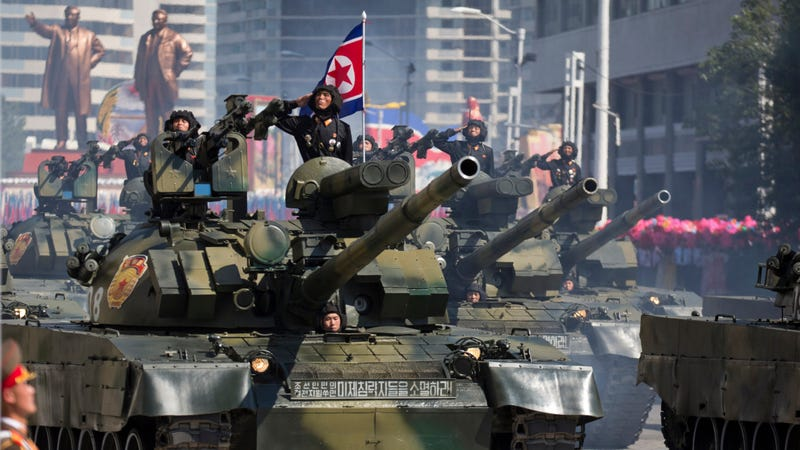North Korean tanks during 2018 parade celebrating the 70th anniversary of North Korea