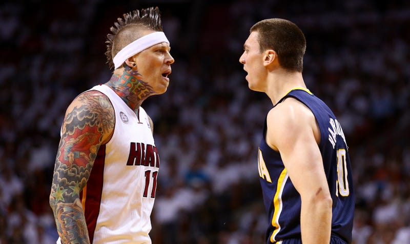 Illustration for article titled I Can't Stop Looking At These Photos Of Birdman And Tyler Hansbrough Ready To Throw Down