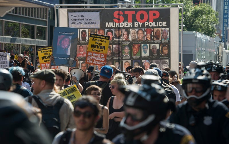 Black Lives Matter activists march during a protest outside the Republican National Convention in Cleveland on July 19, 2016.ANDREW CABALLERO-REYNOLDS/AFP/Getty Images