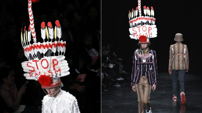 Illustration for article titled Designer's 'Stop Racism' Headdress Calls Out Industry Appropriation