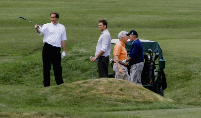 In what might be the whitest photo caption ever written, Jim Nantz and Tom Brady play golf with former Presidents George H.W. Bush and Bill Clinton at a fundraiser in Kennebunkport, Maine, in 2006.