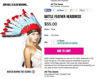 "Illustration for article titled Company claims Native American ""Battle Headdress"" not racist"