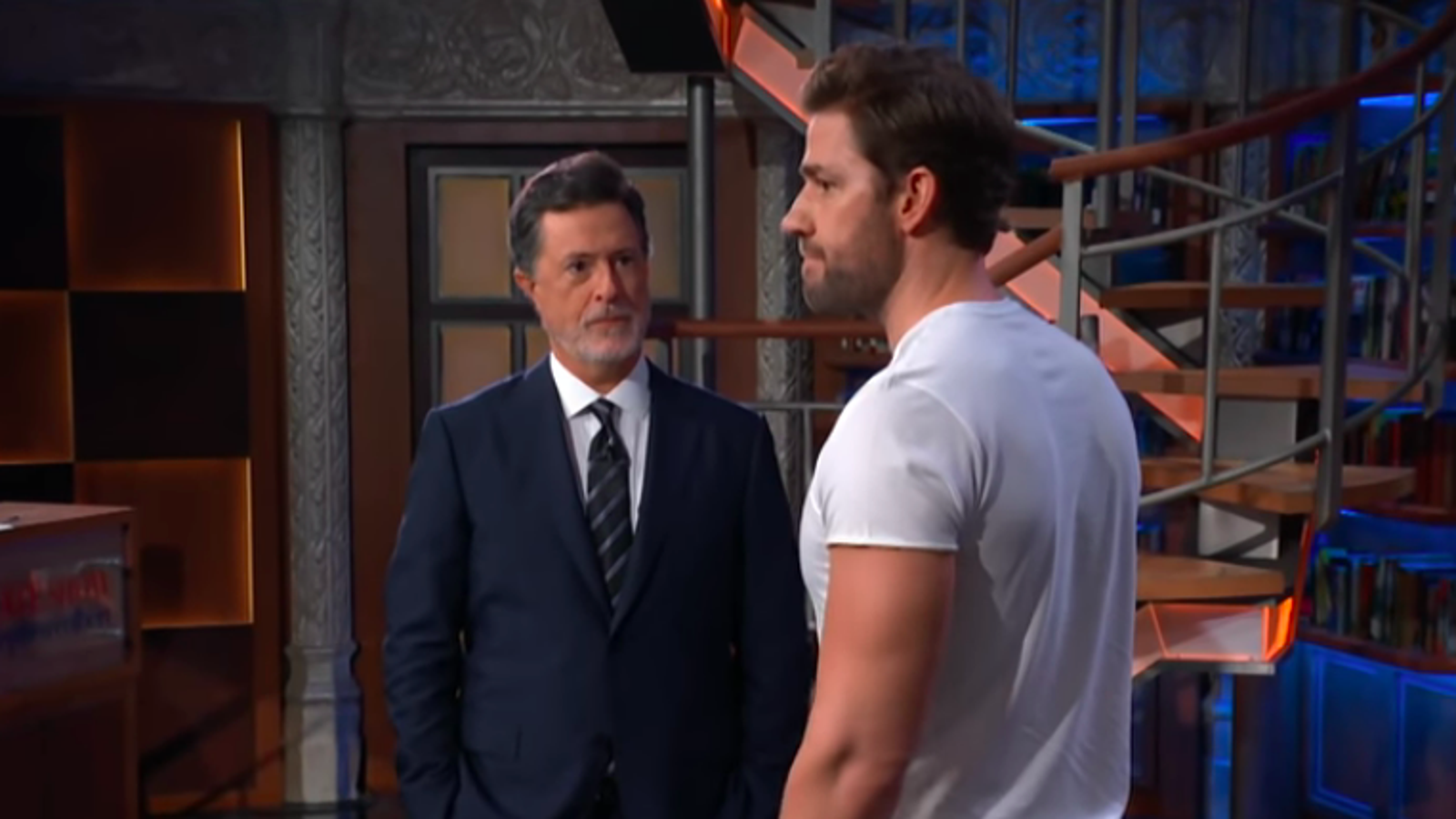 stephen colbert and john krasinski take their comedy guy fight to