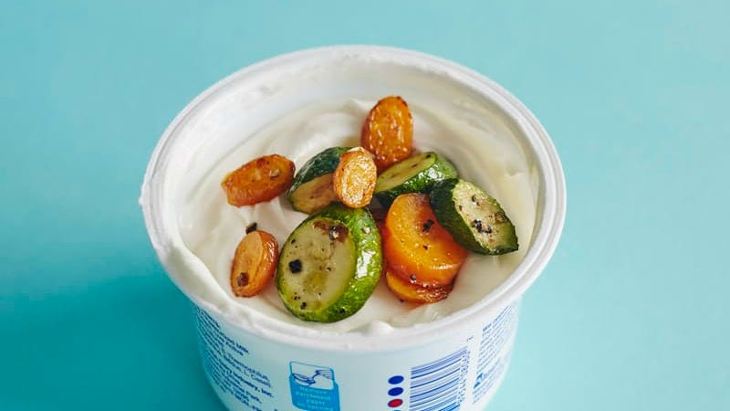 Illustration for article titled Top Plain Yogurt with Grilled Veggies for a Healthy, Satisfying Snack