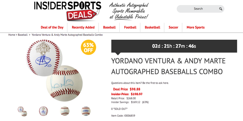 Illustration for article titled Yordano Ventura/Andy Marte Autographed Combo Pack Is A Morbid Deal Of The Day