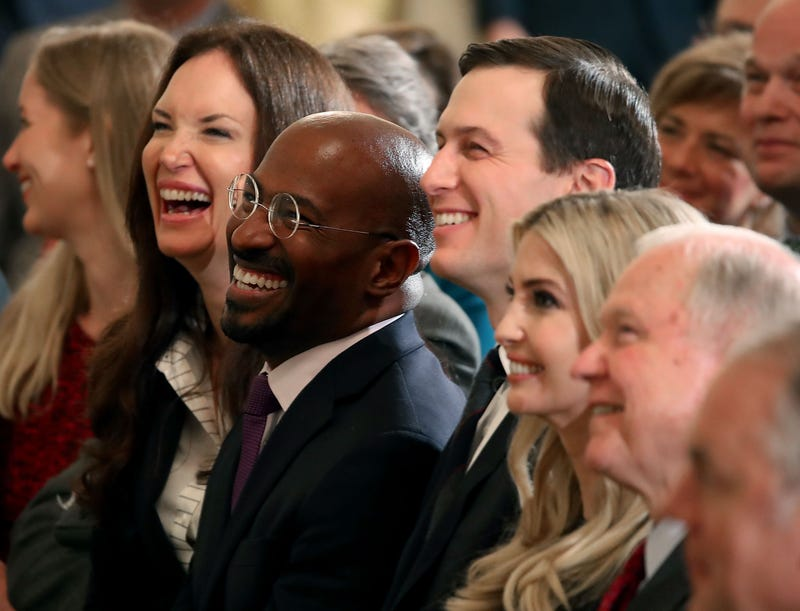 Jeff Sessions, right. sits with Ivanka Trump, her husband, Senior White House Advisor Jared Kushner, center, and Van Jones, left, during a prison reform summit in the East Room at the White House, on May 18, 2018, in Washington, D.C.