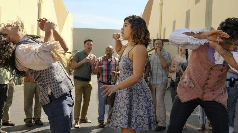 Francisco San Martin, Gina Rodriguez, and Jaime Camil star in Jane The Virgin (Photo: Scott Everett White/The CW)