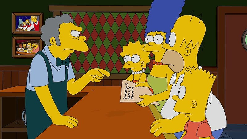 "Illustration for article titled Is The Simpsons' Moe based on that cranky New Jersey bartender from the ""Tube Tapes""?"
