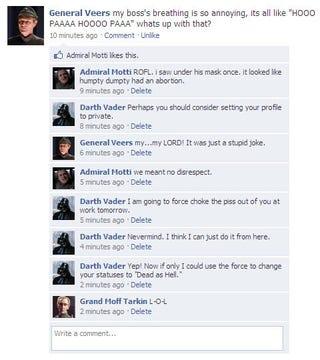 Illustration for article titled Star Wars Facebook