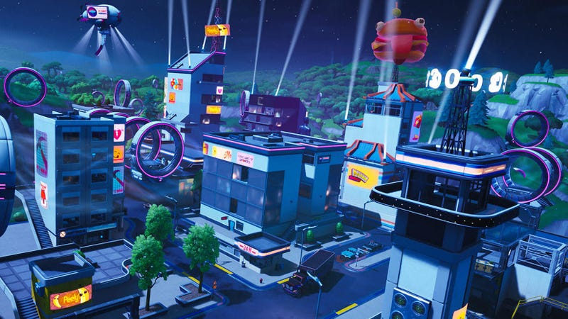 Illustration for article titled Fortnite's New Season Gives Tilted Towers A Cyberpunk Overhaul
