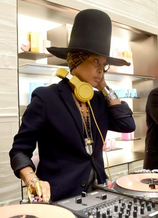 Erykah Badu, aka DJ Lo Down Loretta Brown, spins at opening of Fendi's New York flagship store on Feb. 13, 2015.Larry Busacca/Getty Images