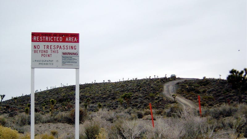 Warning sign outside Groom Lake, 2003.
