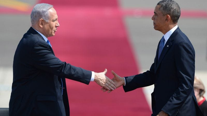Illustration for article titled 'This Is A Pointless Trip,' Obama Says While Shaking Hands With Netanyahu