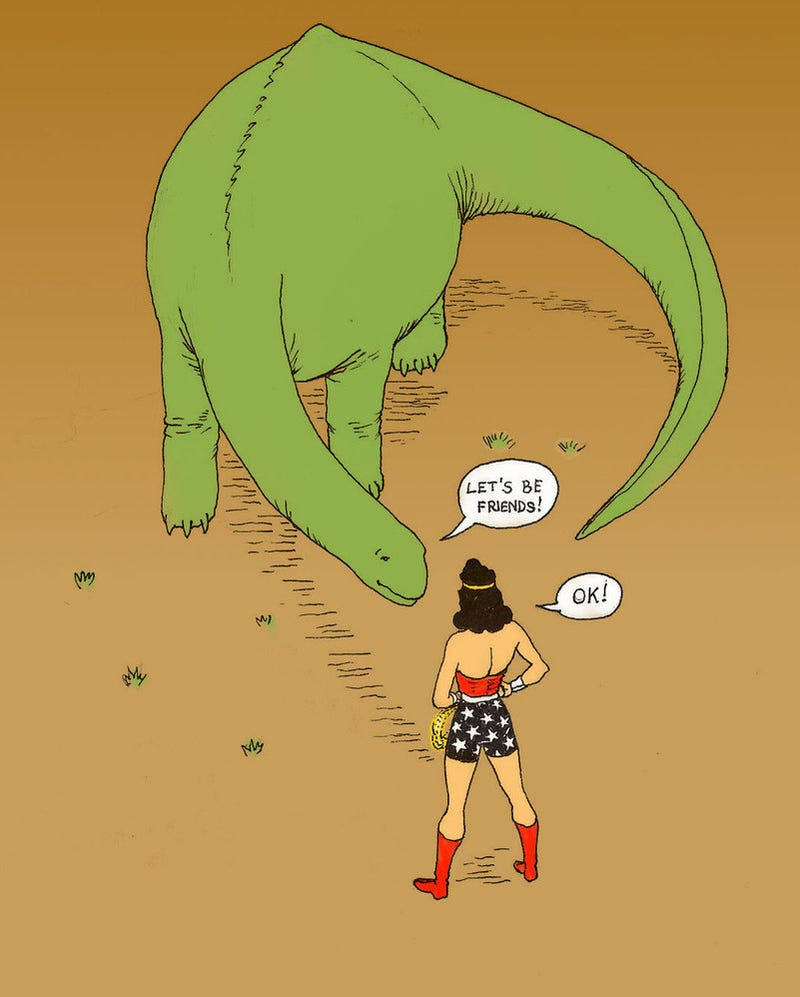 Illustration for article titled BatCAH v. SuperCAH? Nah, it's Wonder Woman with a dinosaur!
