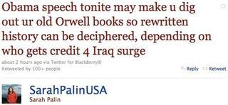 Illustration for article titled Sarah Palin Tweets A Spacetime Mind-Eff