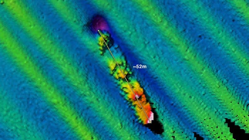 NOAA/Fugro multibeam sonar image of the USS Conestoga.