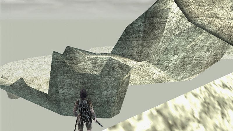 A view of the unfinished mountains hidden in Shadow Of The Colossus (Screenshot: Nomad's Blog)