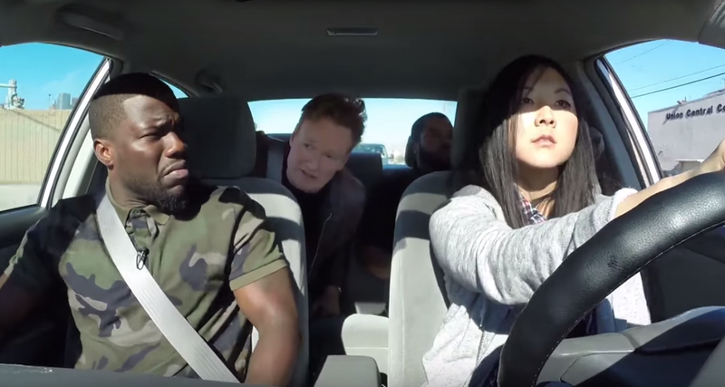 Illustration for article titled Conan, Ice Cube And Kevin Hart Teaching A Student Driver Is A Hilarious Shitshow