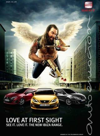 Illustration for article titled Biker Cupid Patrols Seat Ibiza Ads