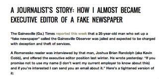 Article from duped journalist on JimRomenesko.com (JimRomenesko.com)
