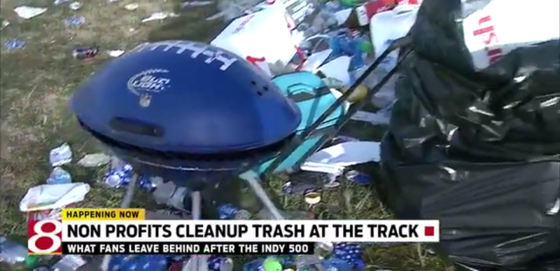 Illustration for article titled The Trash Left By 350,000 Indy 500 Fans Is Staggering