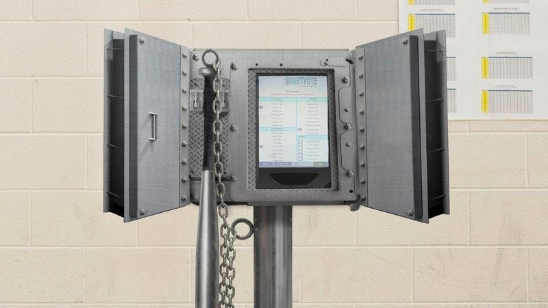The new Citadel voting machines can withstand up to 40 voters an hour getting a running start from a dozen yards outside the booth, leaping at full speed, and jump-kicking them directly in the screen.