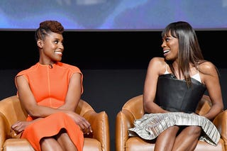 Co-Creator/Executive Producer/Writer/Actor Issa Rae (L) and Actor Yvonne Orji speak onstage at Insecure FYC at Television Academy on May 31, 2018 in Los Angeles, California.