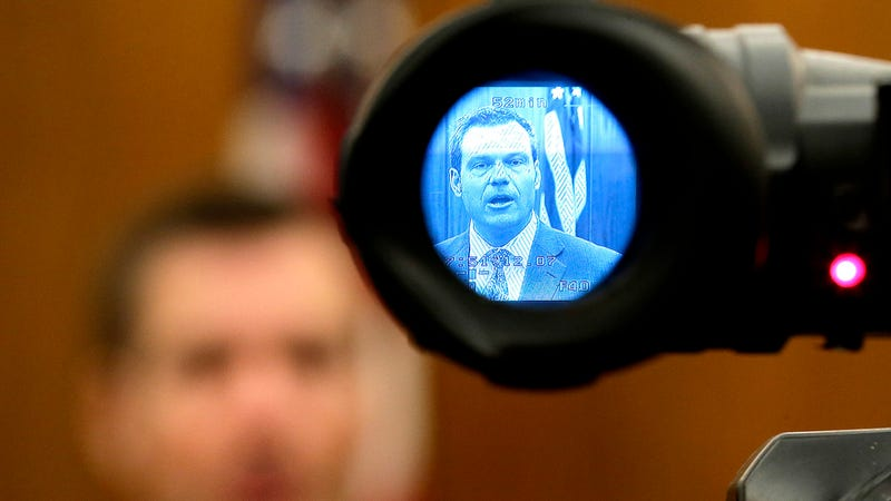 Kansas Secretary of State Kris Kobach talks to the media after a Kansas Supreme Court hearing. (Photo: AP)