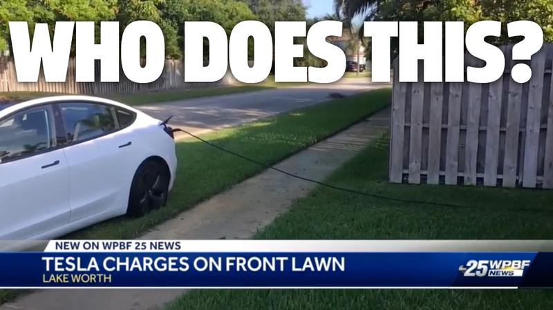 Illustration for article titled Entitled Tesla Jackass Parks on Stranger's Lawn, Steals Electricity for 12 Hours