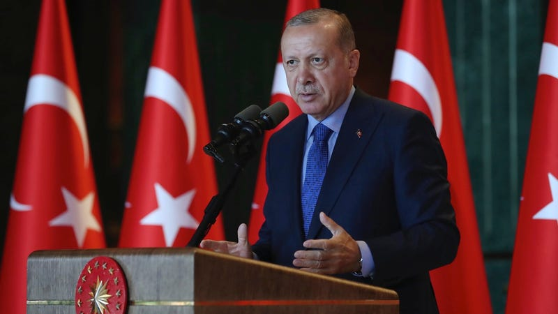Turkey's President Recep Tayyip Erdogan delivers a speech to Turkish ambassadors at the Presidential Palace in Turkey on August 13, 2018