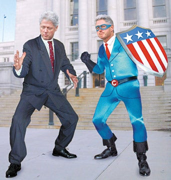 Illustration for article titled Clinton Goes Back In Time, Teams Up With Golden-Age Clinton