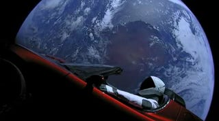 Illustration for article titled Please Caption, Photoshop, or Otherwise Mess With This Photo of Elon Musk's Space Car