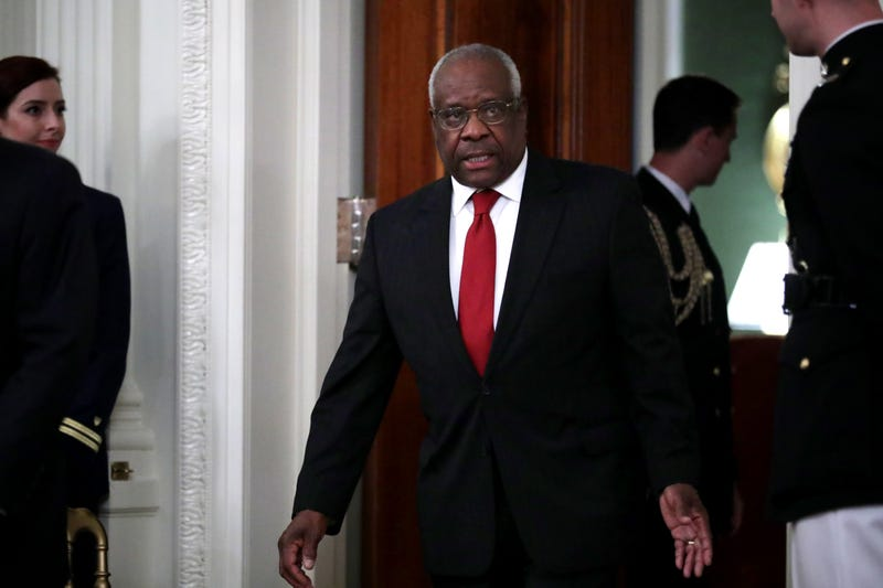 U.S. Supreme Court Associate Justice Clarence Thomas arrives for the ceremonial swearing in of Associate Justice Brett Kavanaugh in the East Room of the White House Oct. 8, 2018, in Washington, D.C. Kavanaugh was confirmed in the Senate 50-48 after a contentious process that included several women accusing Kavanaugh of sexual assault. Kavanaugh has denied the allegations.