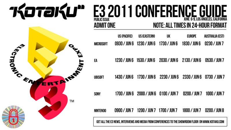Illustration for article titled Your Handy Guide to E3's Big Press Conference Kick-Off Times