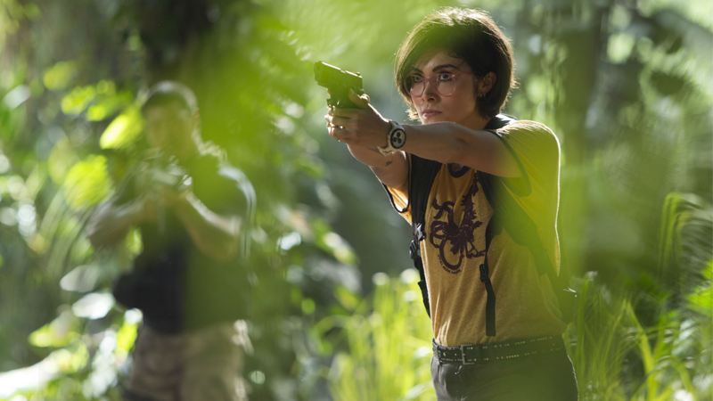 Daniella Pineda as Dr. Zia Rodriguez in Jurassic World: Fallen Kingdom.