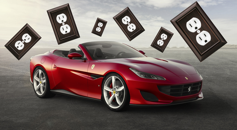 A Ferrari Portofino and outlet covers that look like what a Ferrari owner would buy, except in solid gold or something. Ferrari didn't say which car(s) would be electric, if it does make an electric car, and the Portofino is just for illustration. Images via Ferrari/The Home Depot