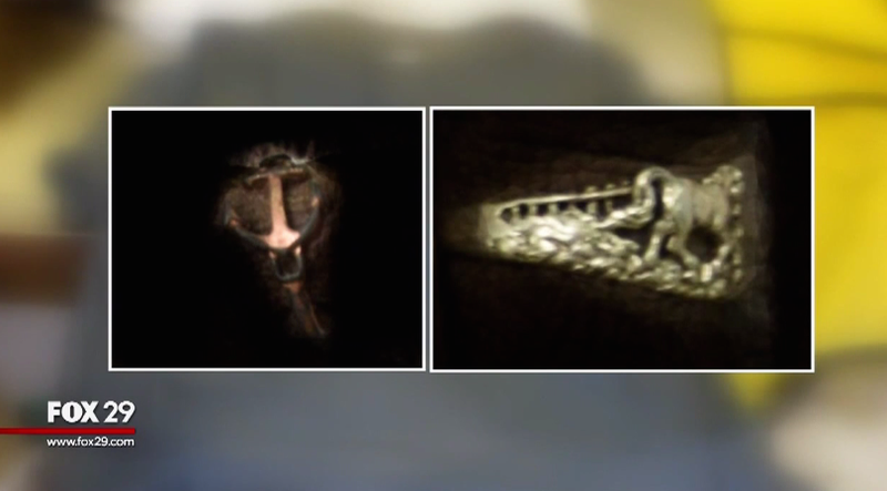 Authorities released images showing two of the distinctive rings that the woman was wearing when her body was discovered.WTXF screenshot