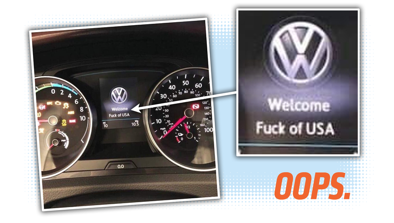 Illustration for article titled Brand-New Volkswagen Arrives at Dealer and Drops an F-Bomb to America