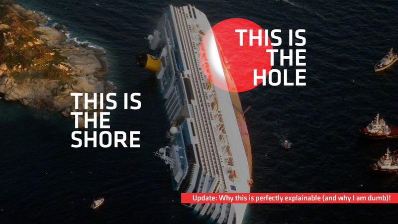 Illustration for article titled Incredible Hi-Res Costa Concordia Photos Reveal Captain's Insanity