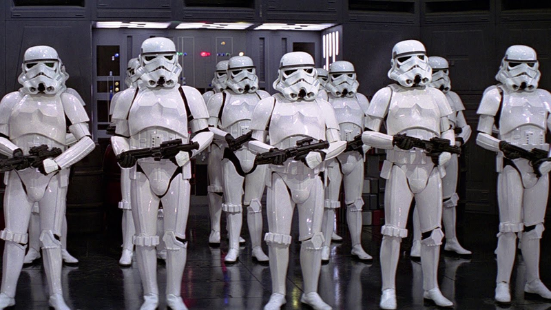 Stormtroopers, with their E-11s.