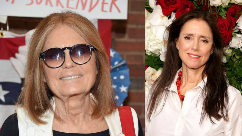 Gloria Steinem and her new best friend, Julie Taymor. Images: Getty