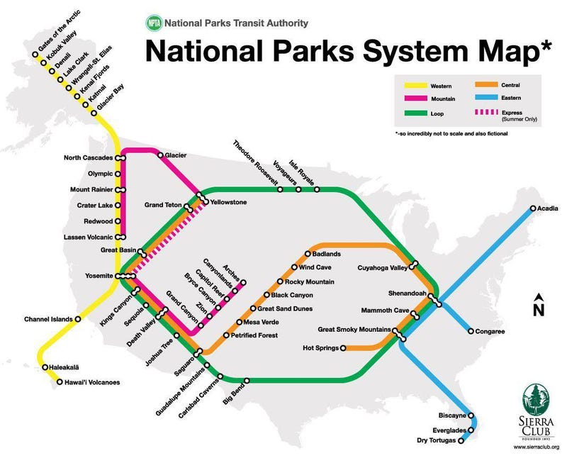 Illustration for article titled This is the American National Park (Subway) System