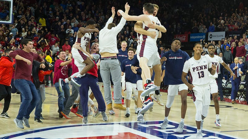 Penn celebrates right after knocking off Villanova, the Wildcats' first city loss since 2012.